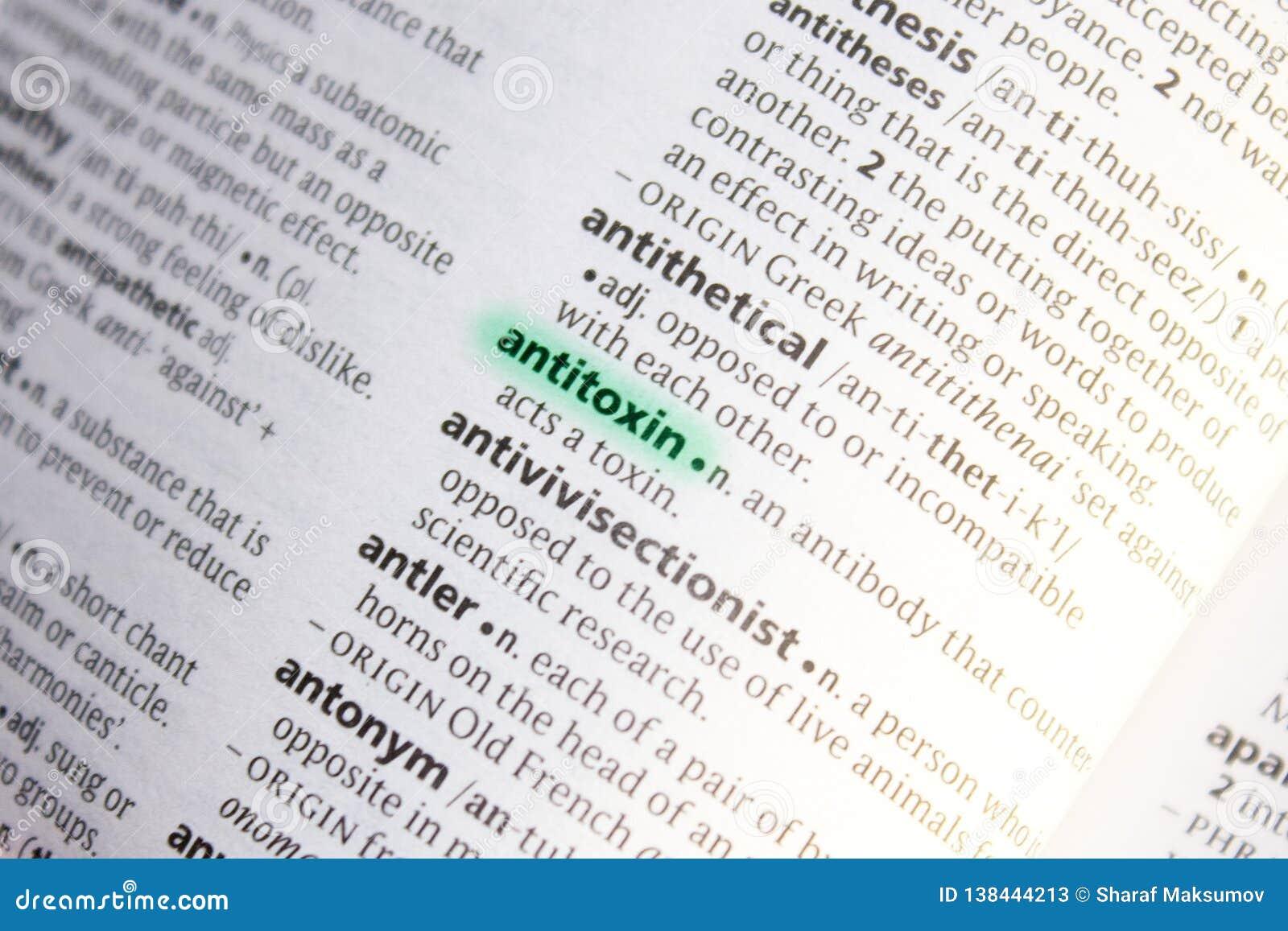 Palabra O Frase De La Antitoxina En Un Diccionario Imagen De