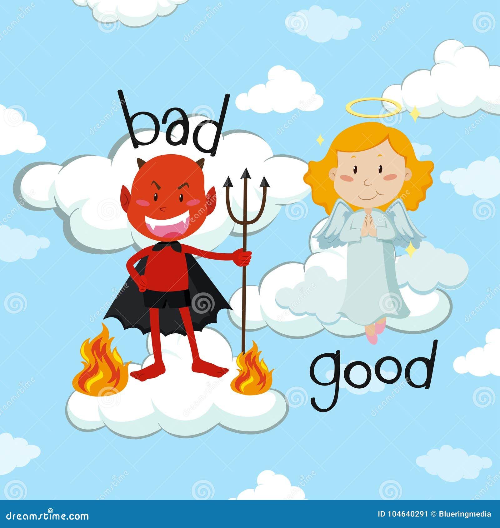 Palabra opuesta para malo y bueno con ángel y el diablo