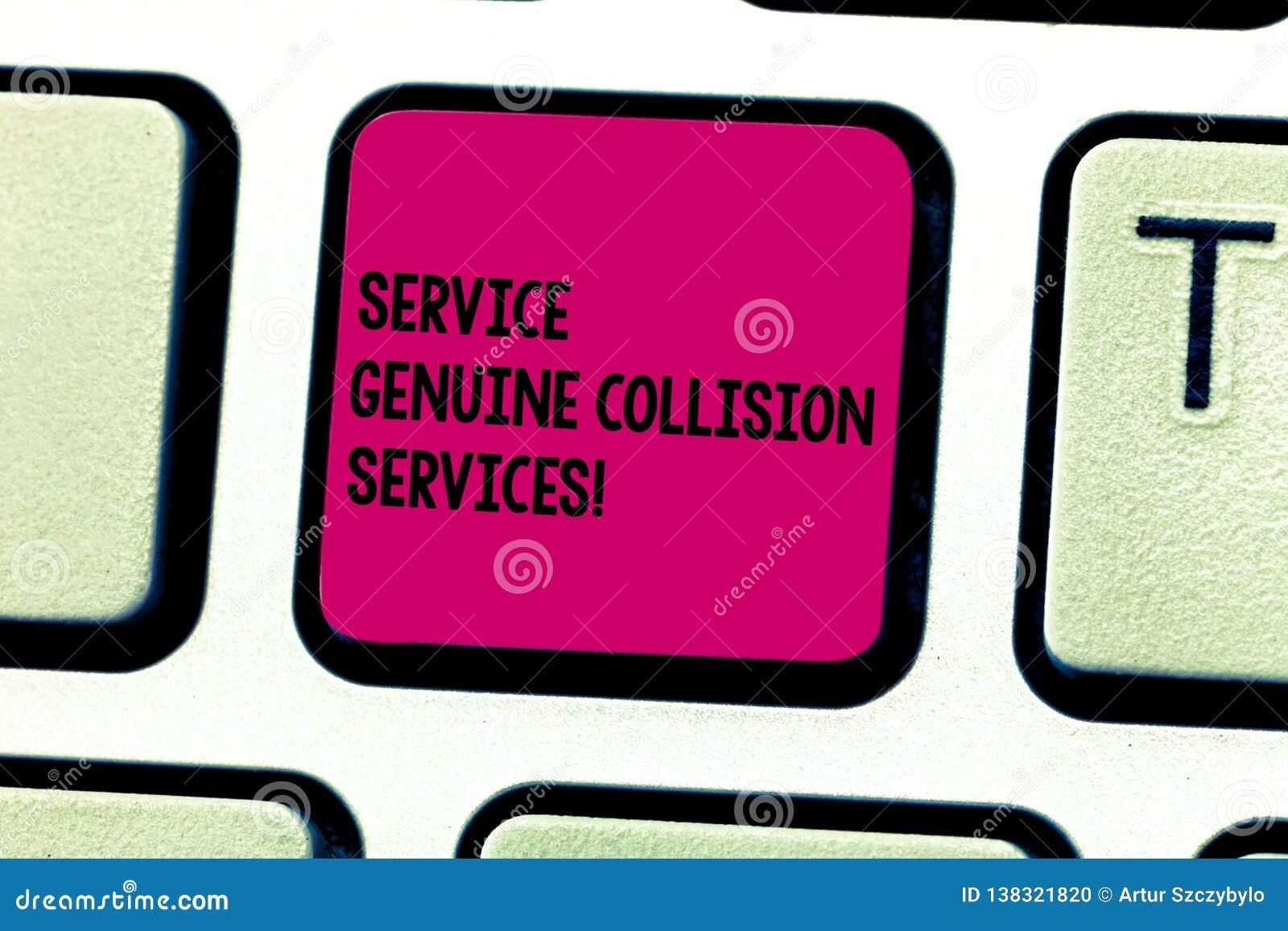 Palabra que escribe a servicio del texto servicios auténticos de la colisión Concepto del negocio para el buen gran teclado de lo