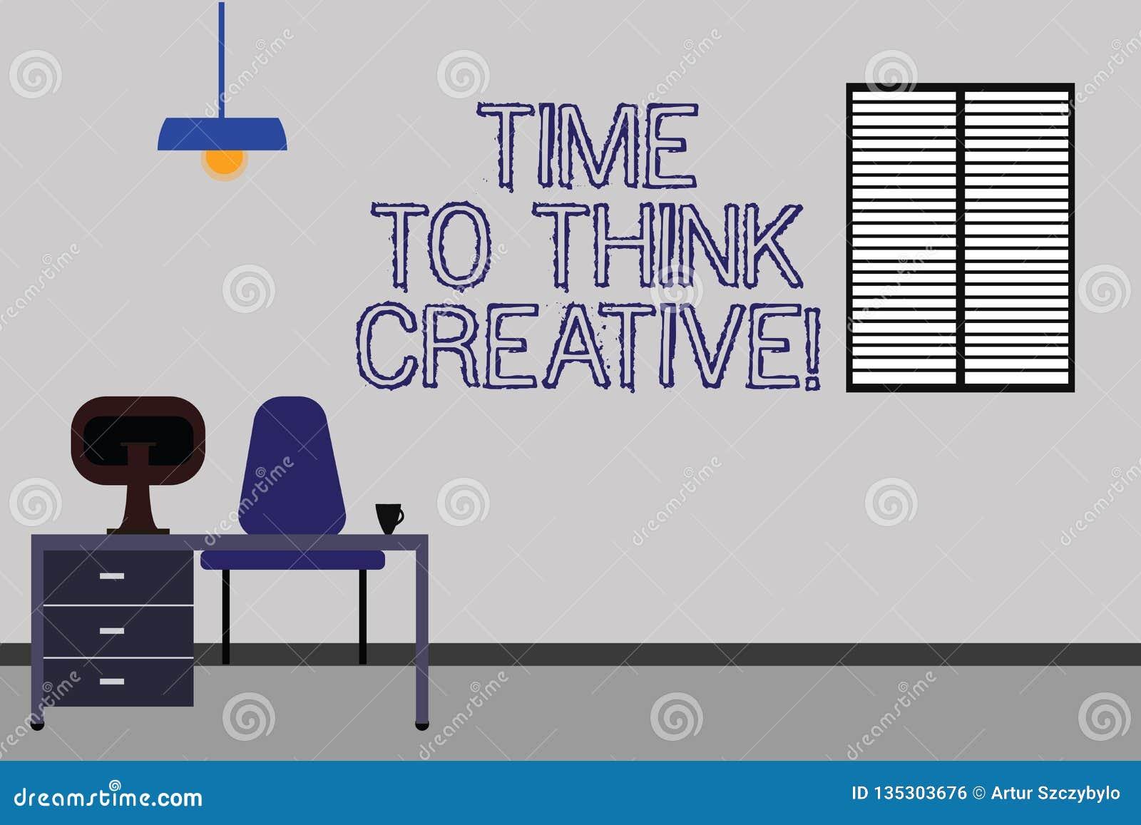 Palabra que escribe tiempo del texto para pensar creativo Concepto del negocio para las ideas originales de la creatividad que pi
