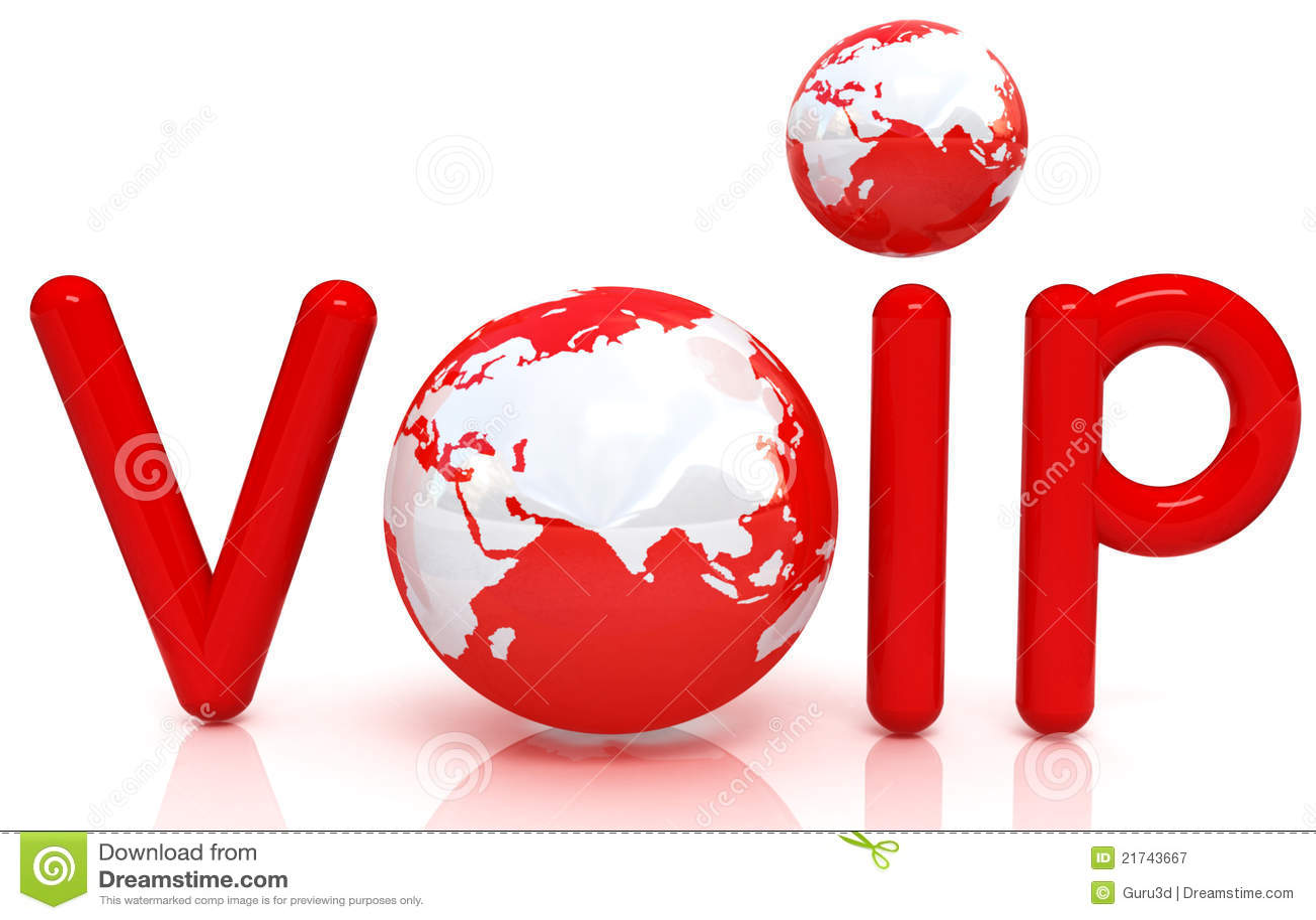 Palabra roja VoIP con el globo 3D