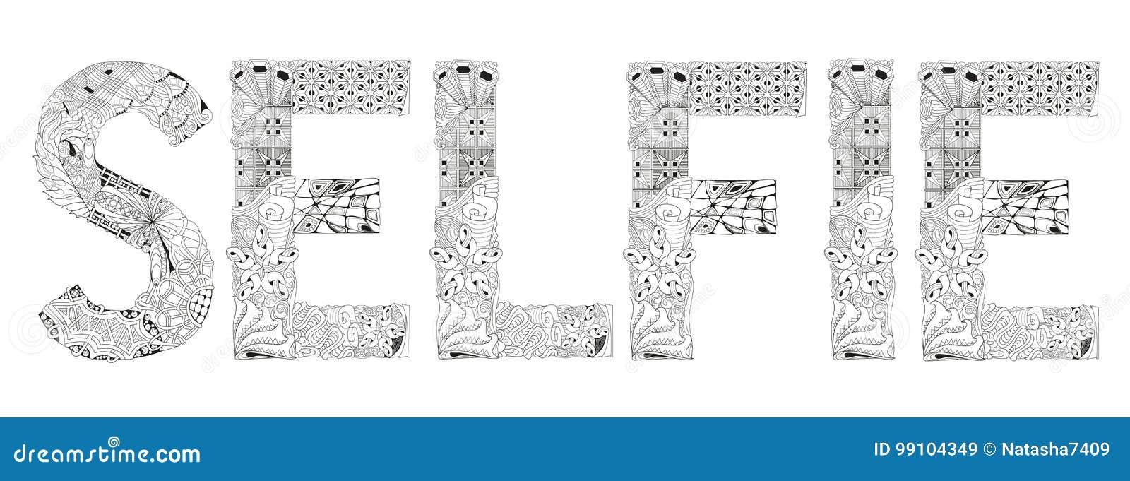 Palabra SELFIE Para Colorear Objeto Decorativo Del Zentangle Del ...