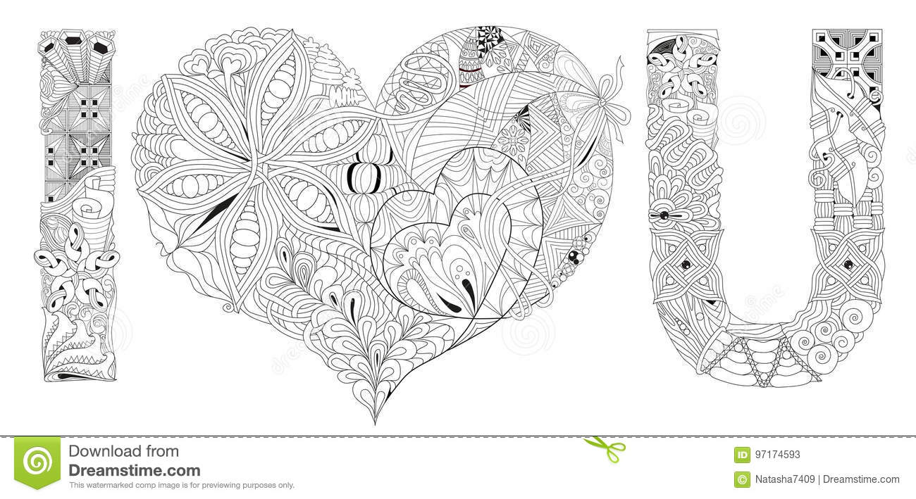 Amor De La Palabra Para Colorear Objeto Decorativo Del Zentangle Del ...