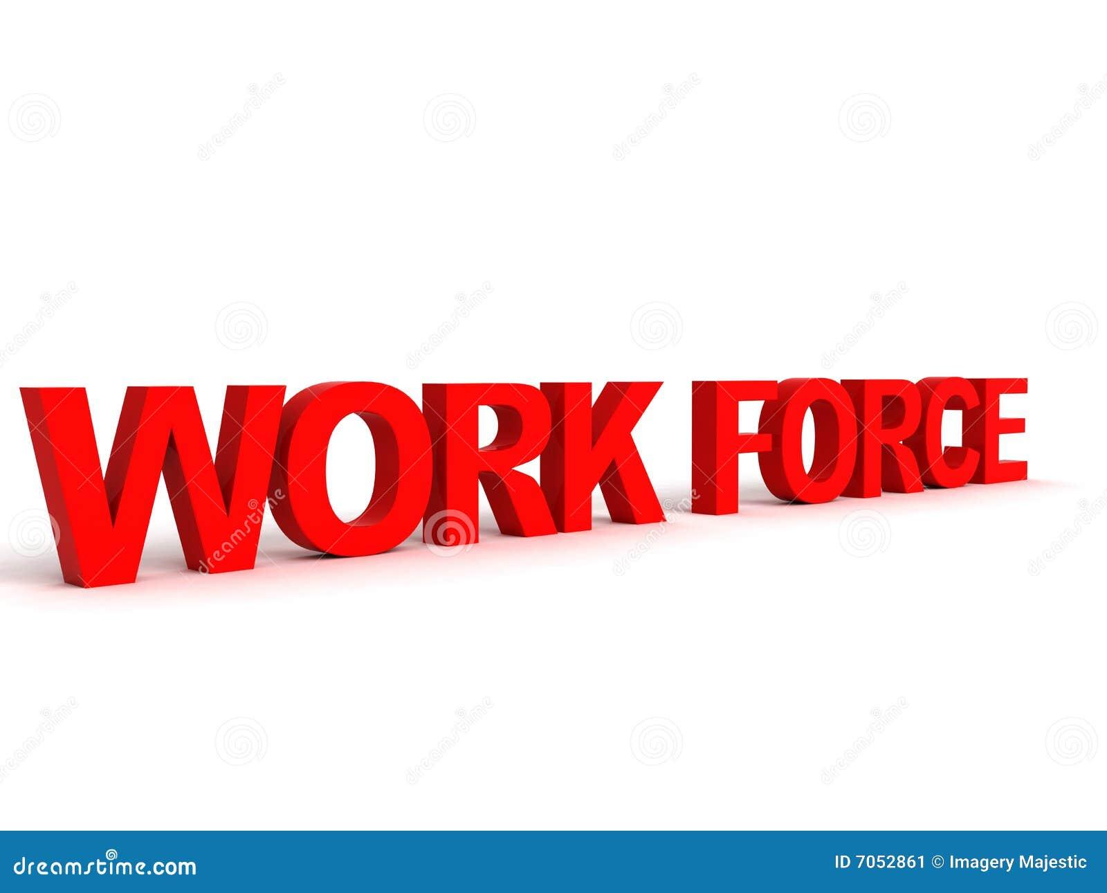 Palabra tridimensional de la fuerza de trabajo