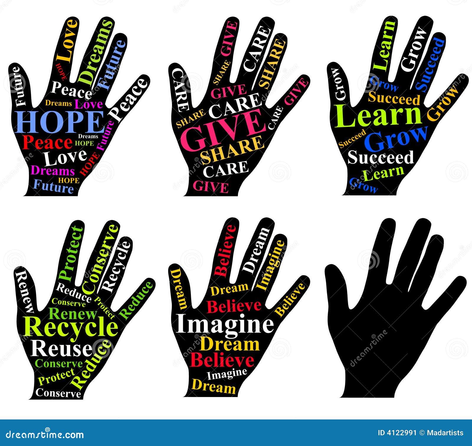 Palabras de motivación como arte en las manos humanas