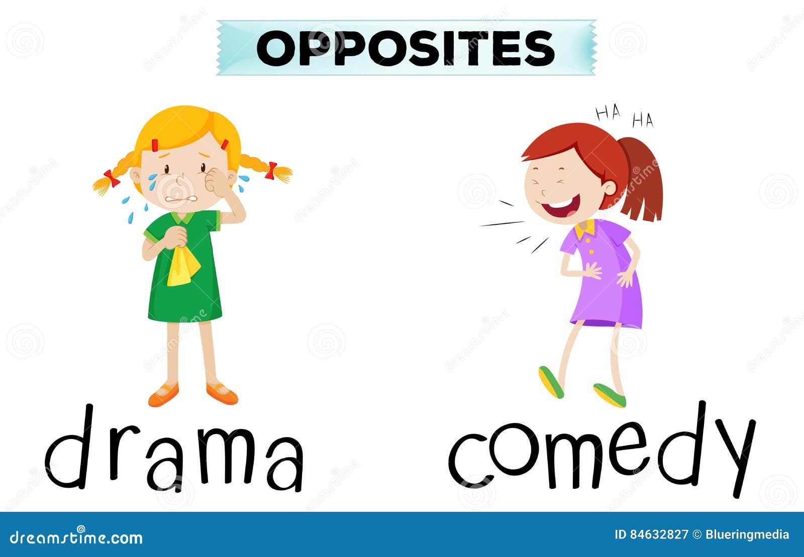 Palabras opuestas con drama y comedia