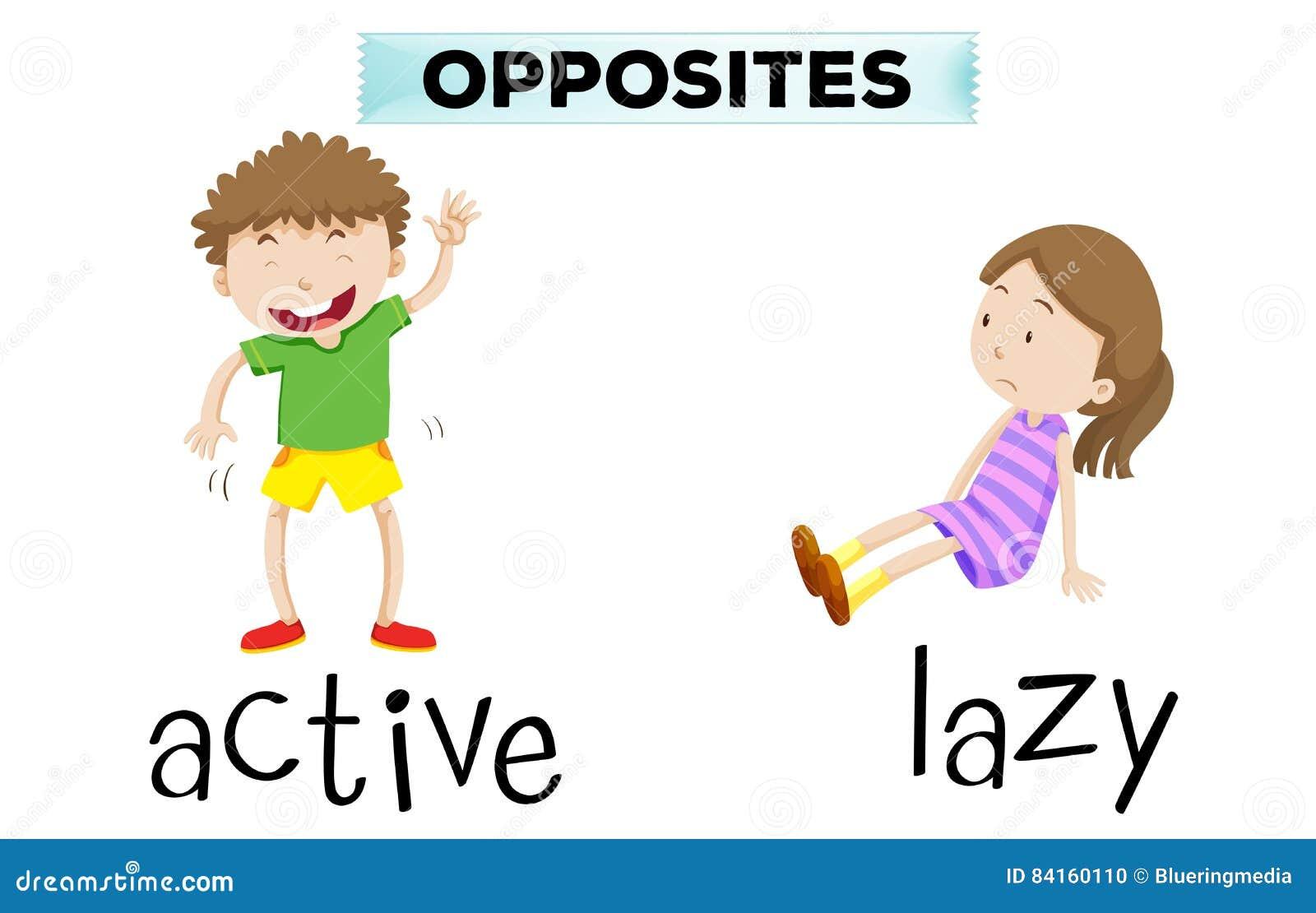 Palabras opuestas para activo y perezoso