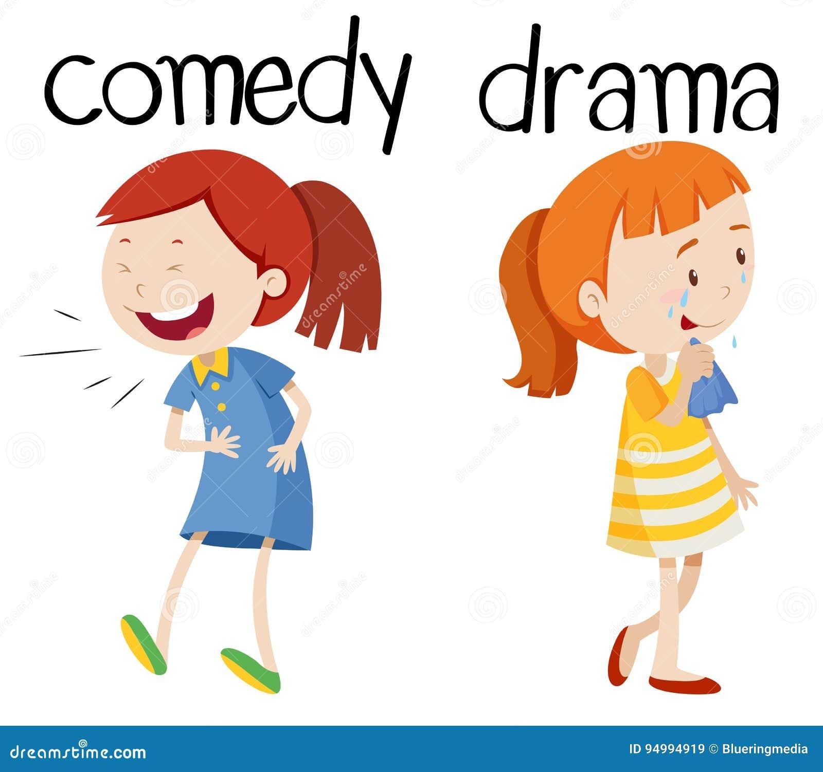 Palabras opuestas para la comedia y el drama