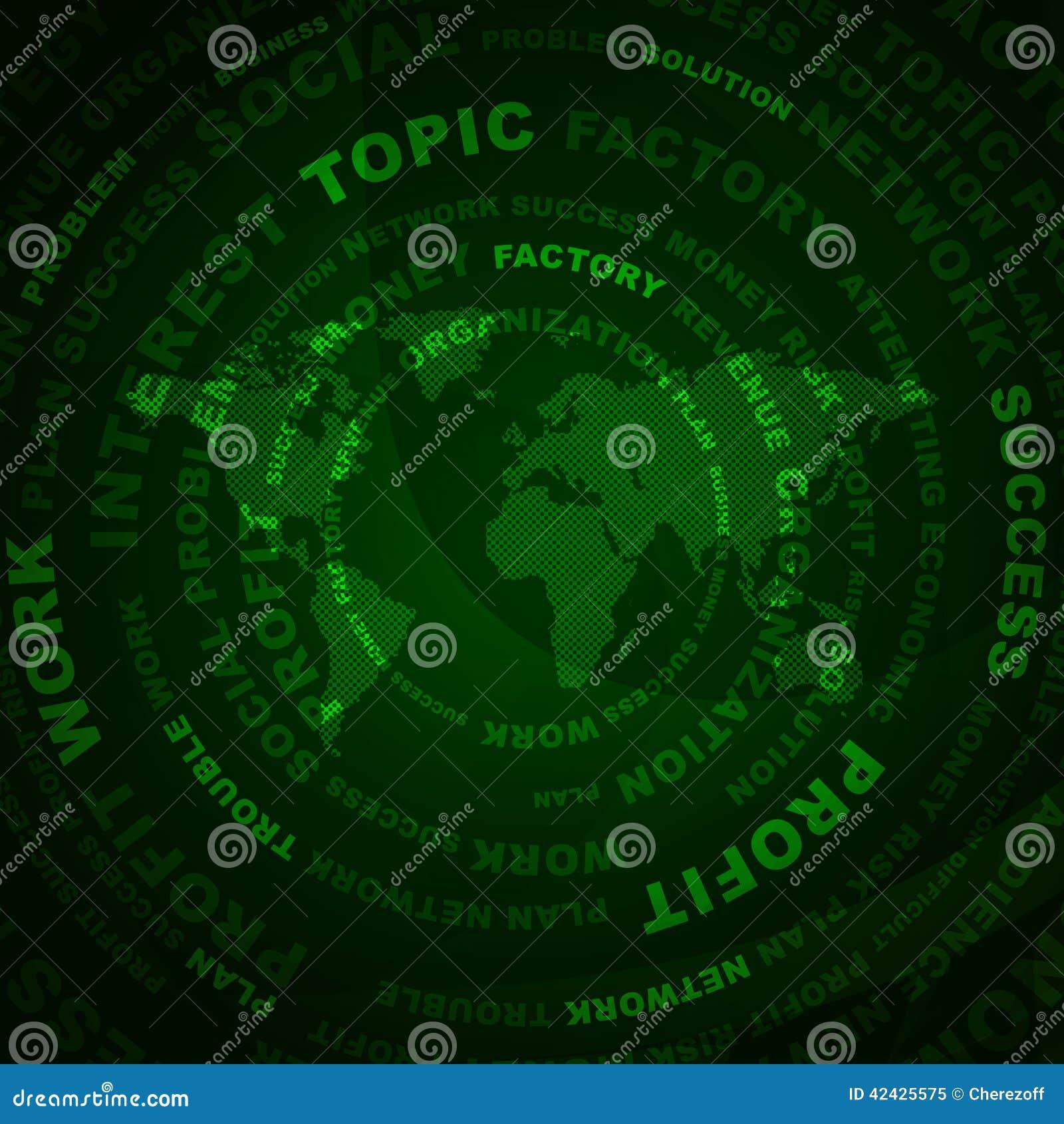 Palabras y mapa del mundo del negocio