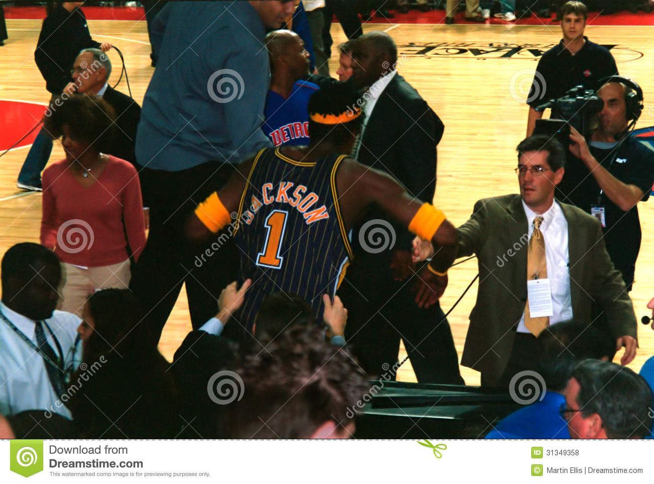 The Palace Brawl Trouble Stephen Jackson Editorial Stock