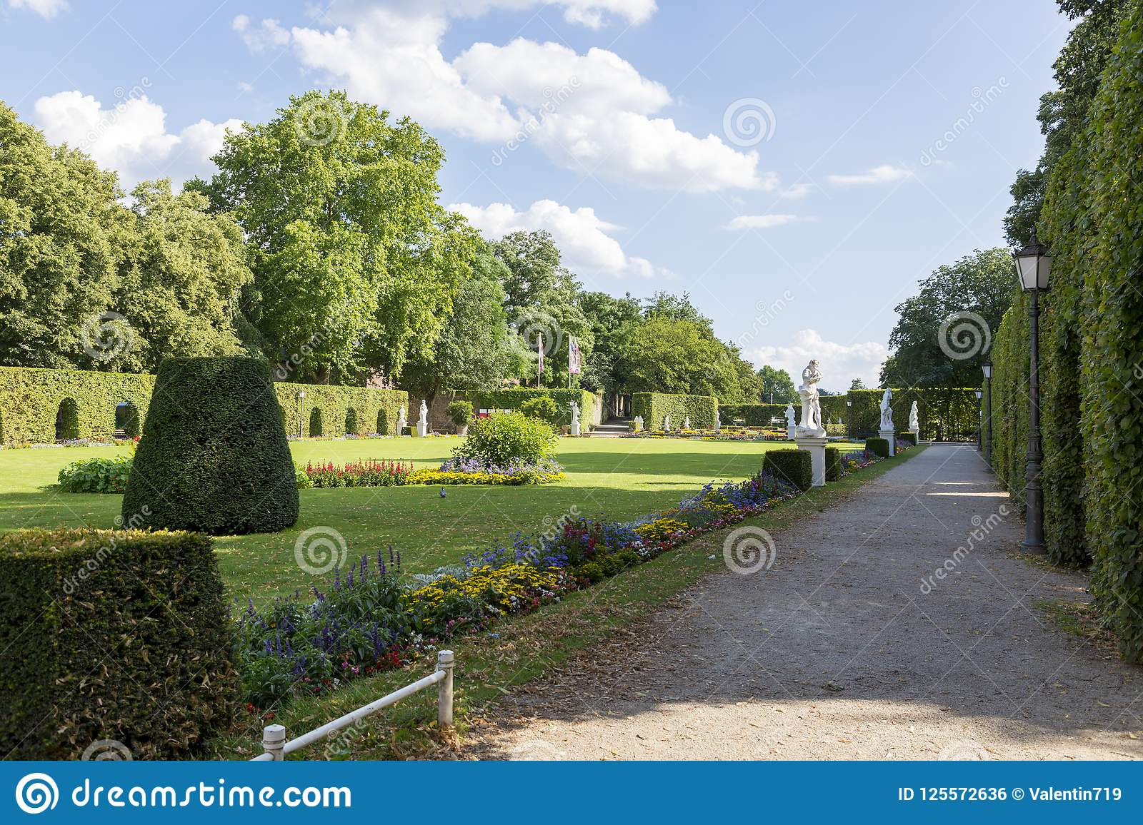 Palace garden in front of the Prince-elector Palace in the center of Trier