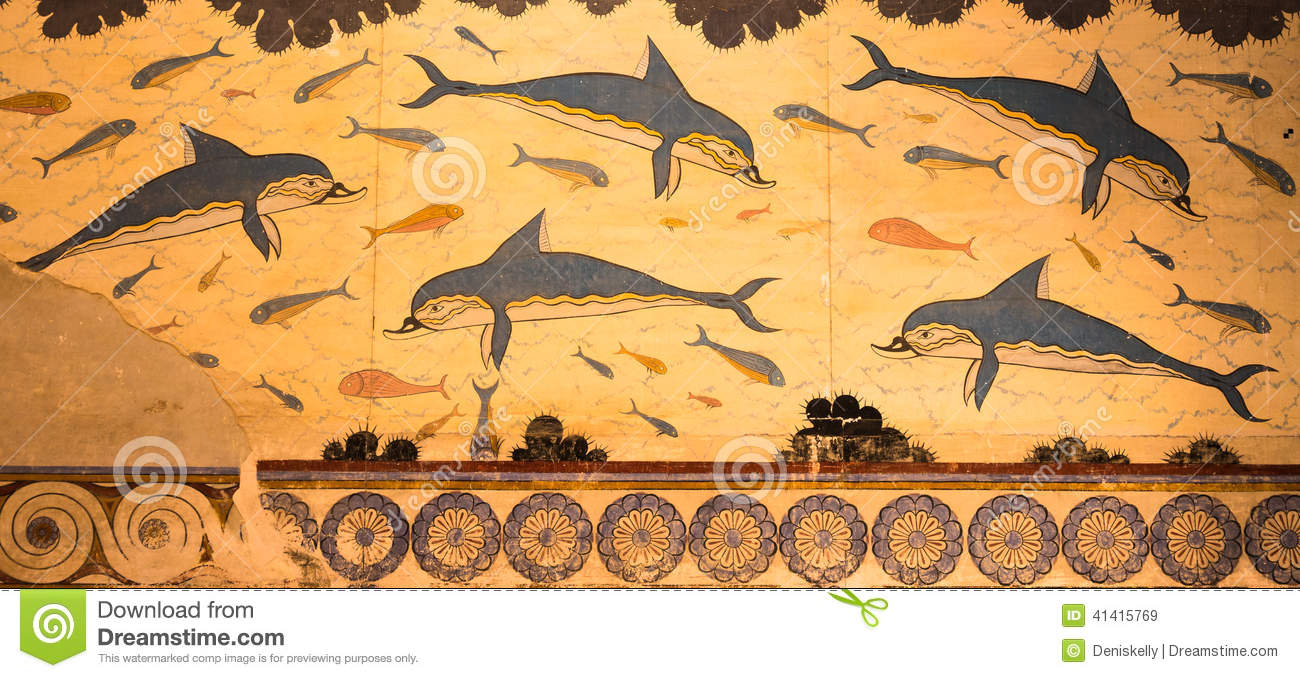 Knossos Palace Dolphins Fresco Crete Greece