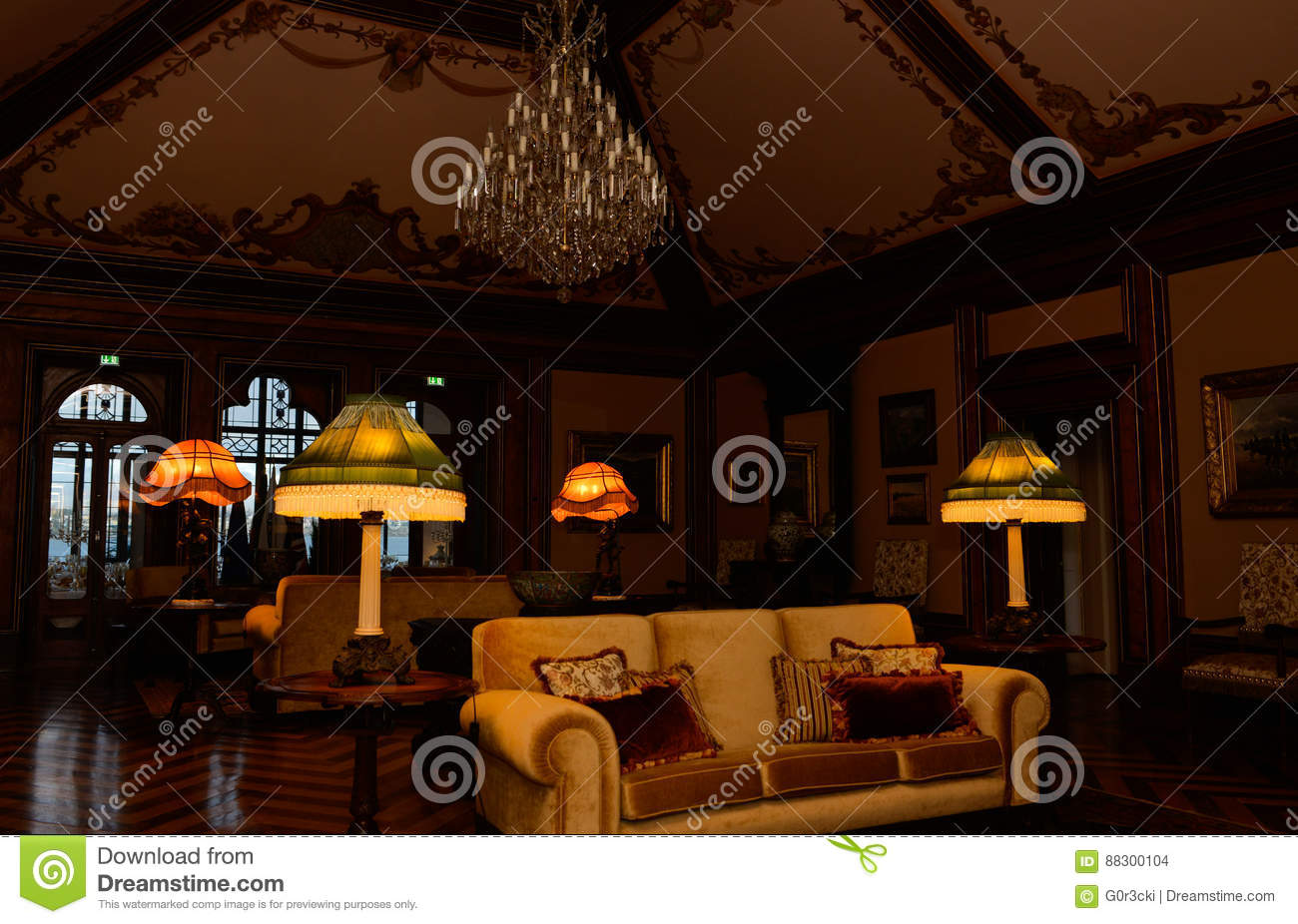. Palace Lighted Baroque Lamps  Vintage Living Room Ceiling  Old