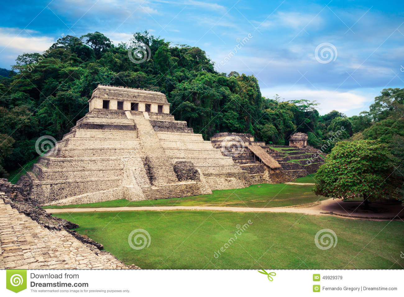 The Palace observation tower in Palenque, Maya city in Chiapas, Mexico