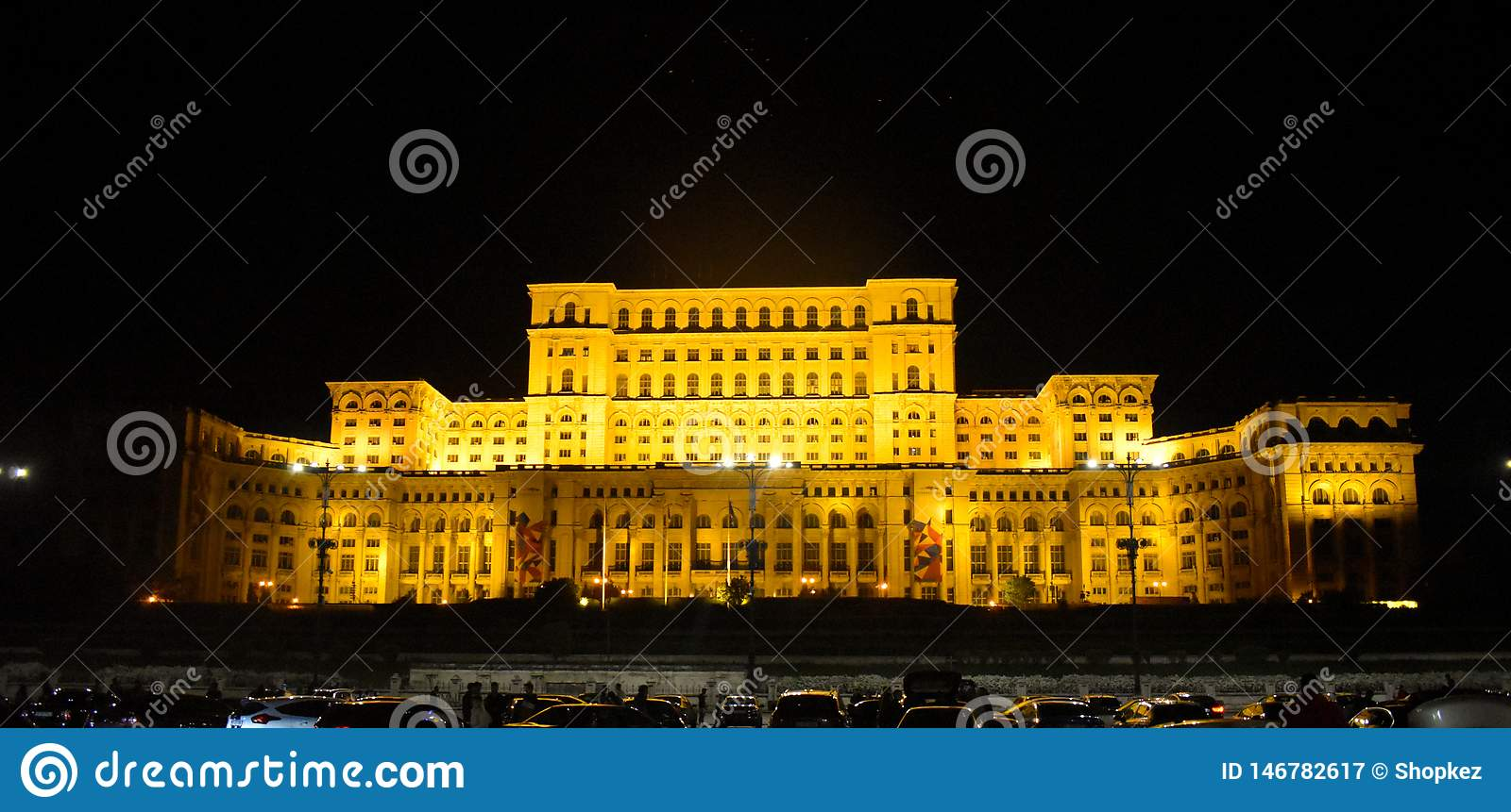 The Palace of the Parliament, Bucharest, Romania.Night view from the Central Square