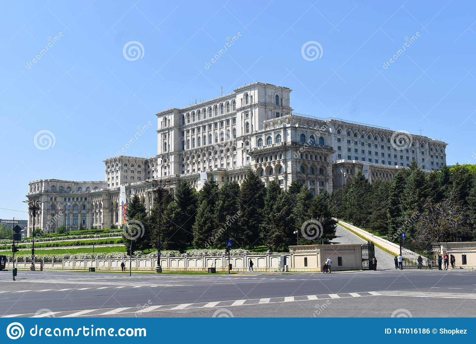 The Palace of the Parliament or People`s House, Bucharest, Romania. Night view from the Central Square.  The Palace was ordered b