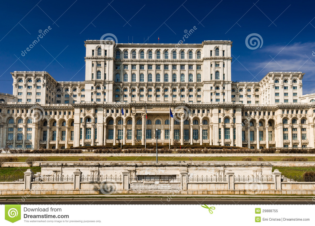 parliament of romania building facade bucharest stock