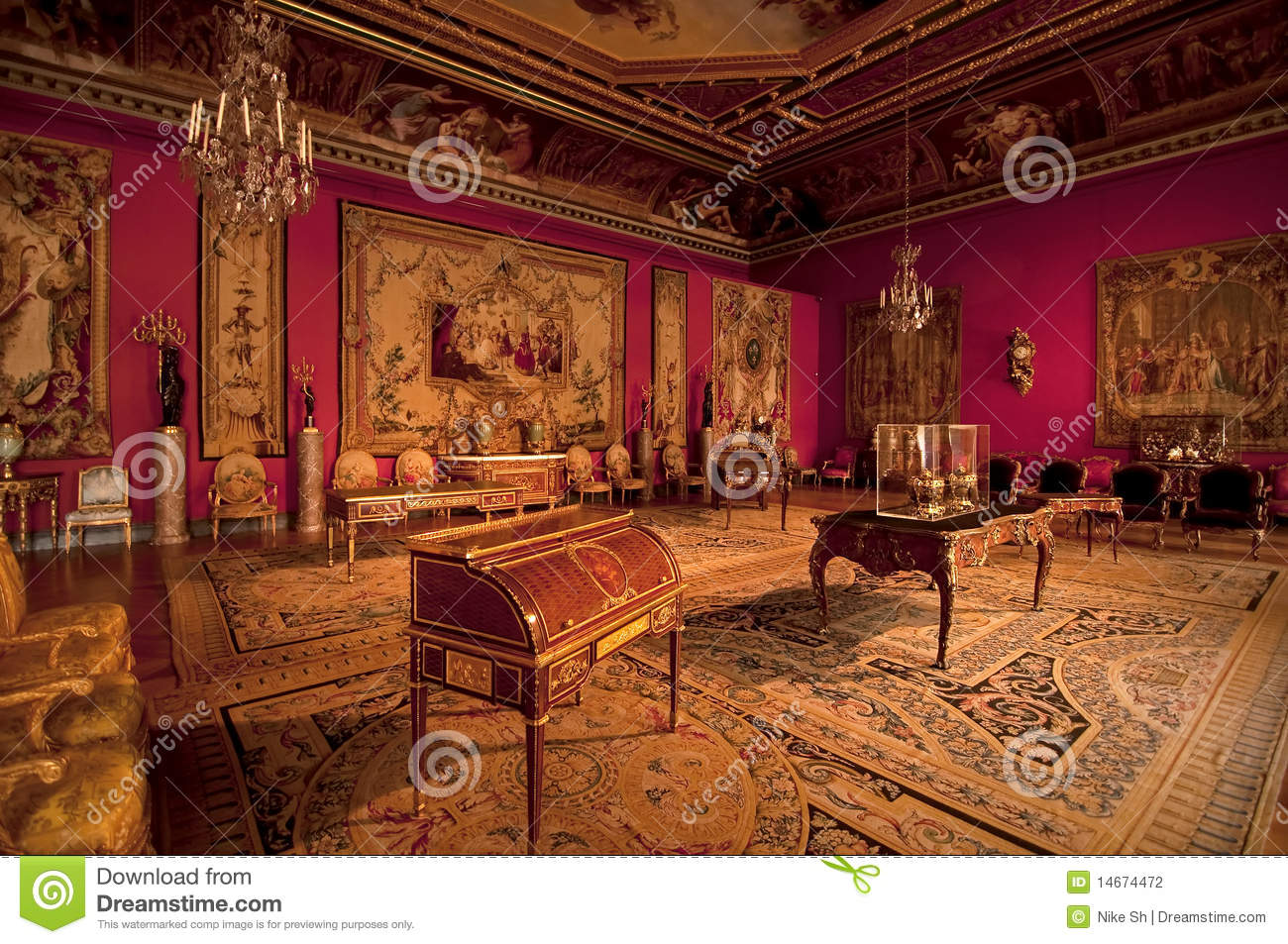 palace room from the Napoleon era at the Louvre Paris.
