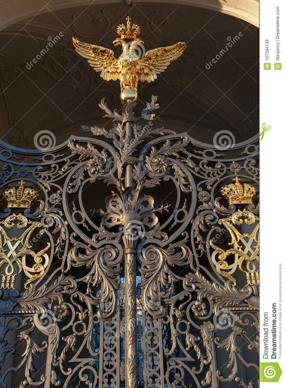 Palace square. Fragment of the gate of the Hermitage Museum in St. Petersburg.