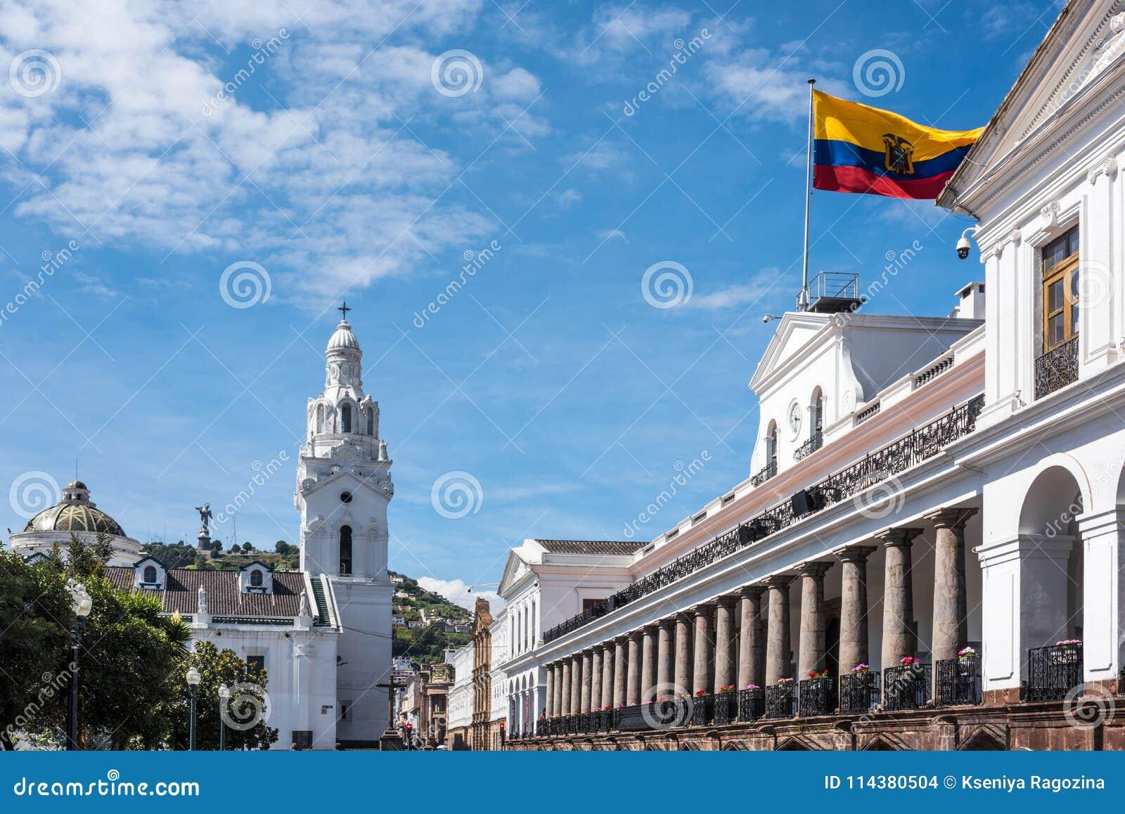 Palacio de Carondelet en Quito en el cuadrado de la independencia