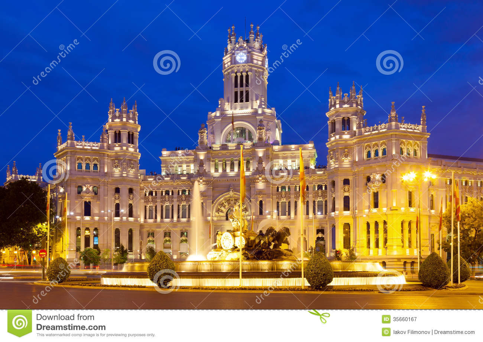 Palacio De Cibeles In Summer Night Madrid Stock Image