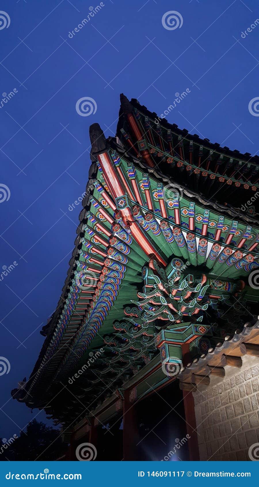 Palacio en Seúl, palacio hermoso, modelo hermoso de Changgyeonggung del tejado