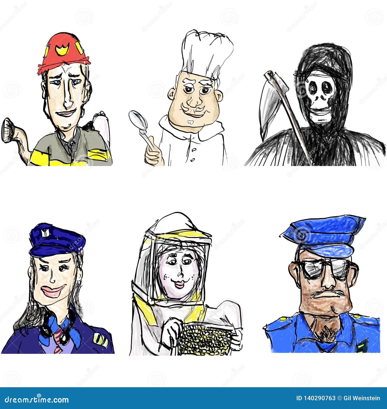 Palacz, szef kuchni, Pilotowa kobieta, pszczelarka, policjant, anioł śmierć