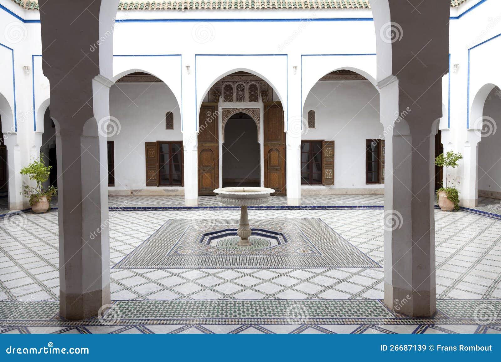 Palais de la的巴伊亚马拉喀什摩洛哥庭院