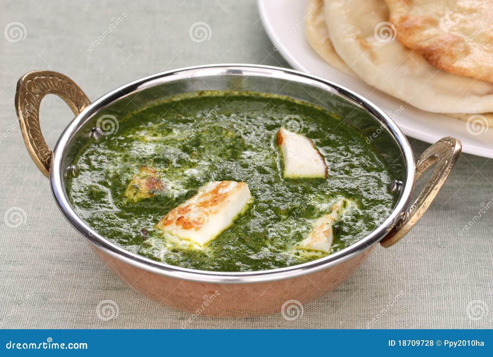 Palak paneer, spinazie en kaaskerrie, Indisch F