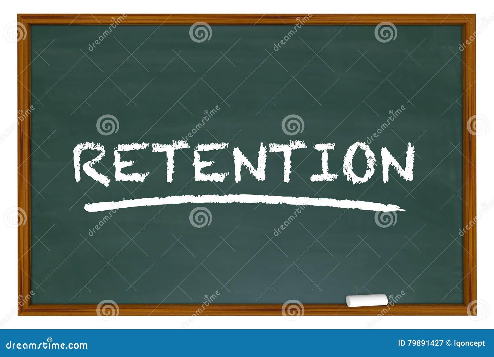 A palavra da placa de giz da retenção retém empregados dos clientes