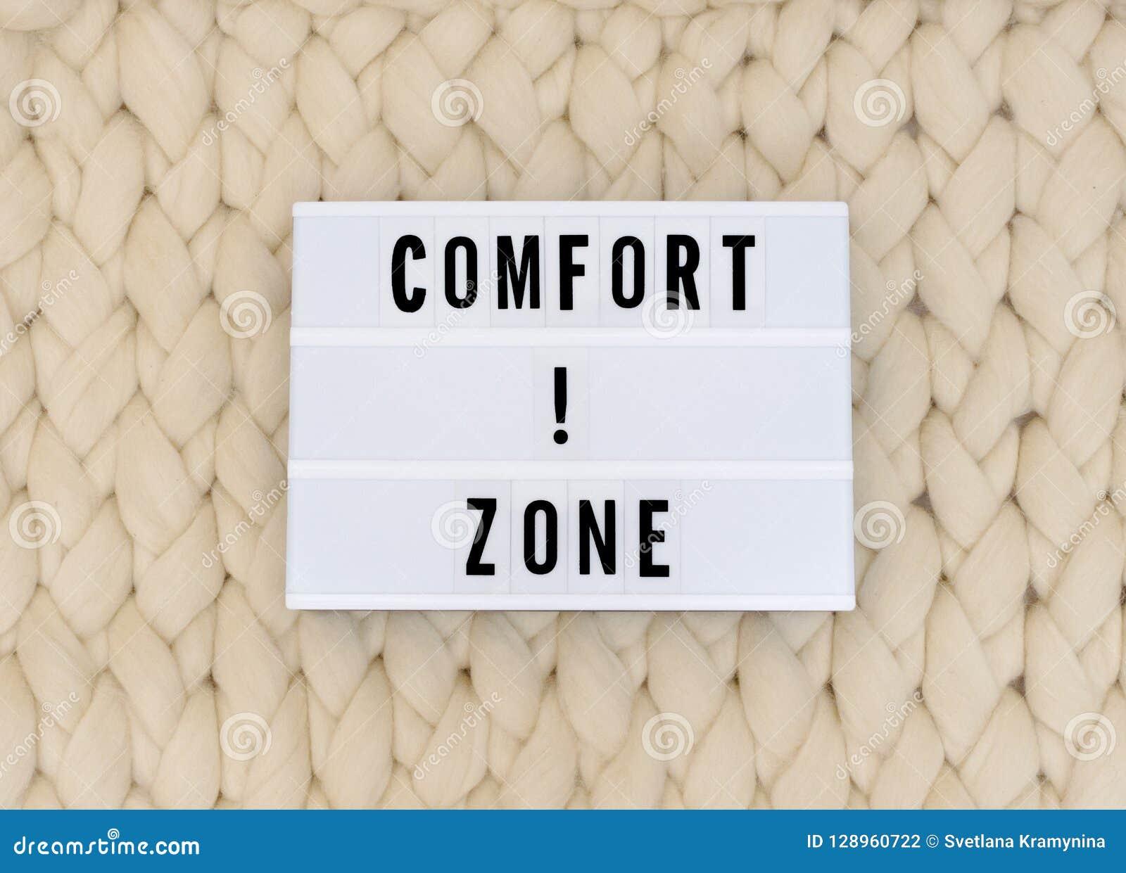 Palavra Da Zona De Conforto No Lightbox No Fundo Da Malha