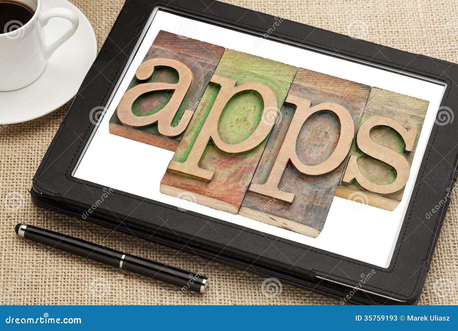 Palavra de Apps na tabuleta digital
