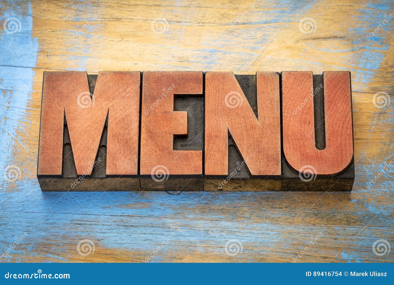 Palavra do menu no tipo da madeira da tipografia