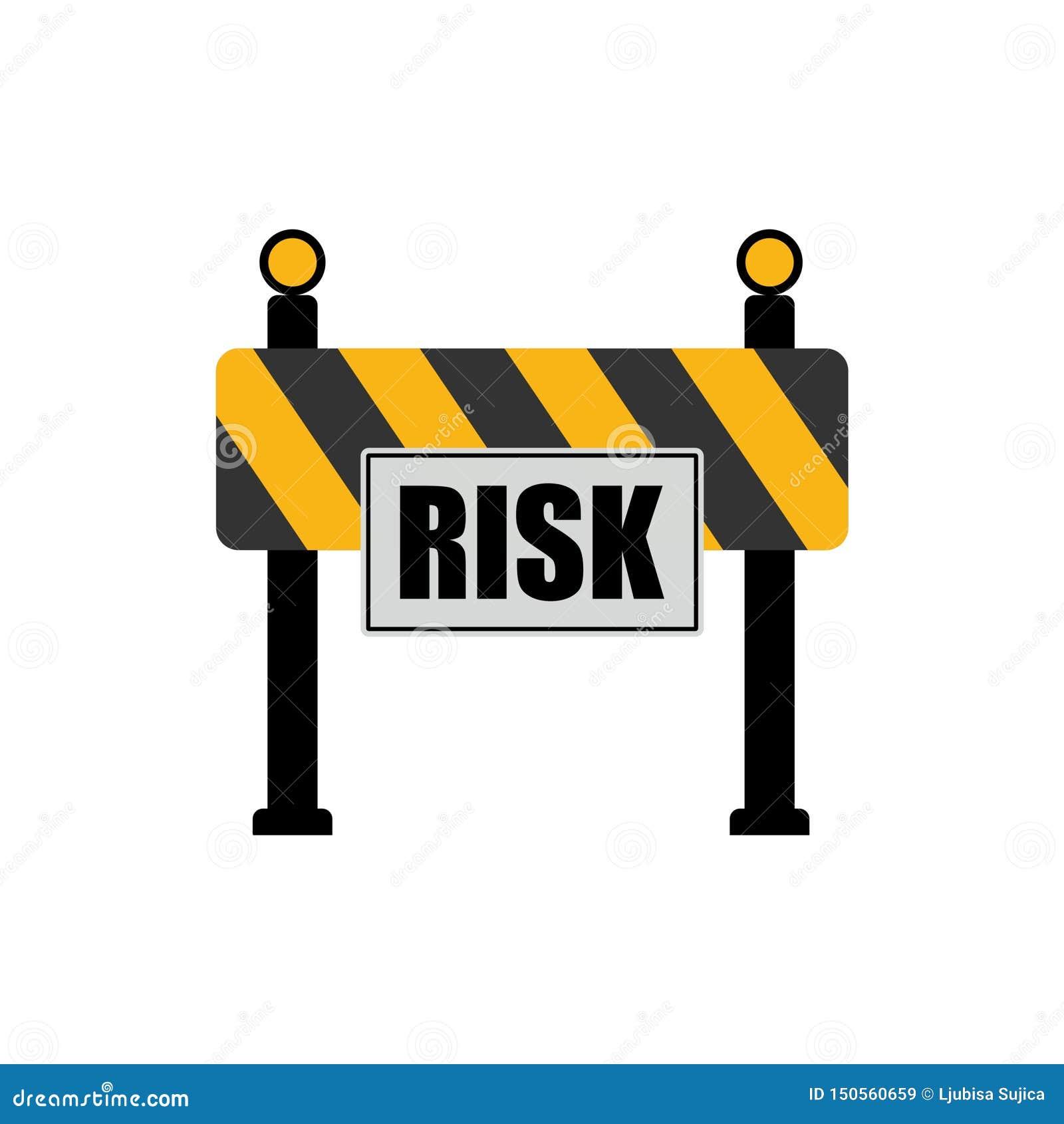 Palavra do risco no sinal de estrada, conceito da barreira da estrada