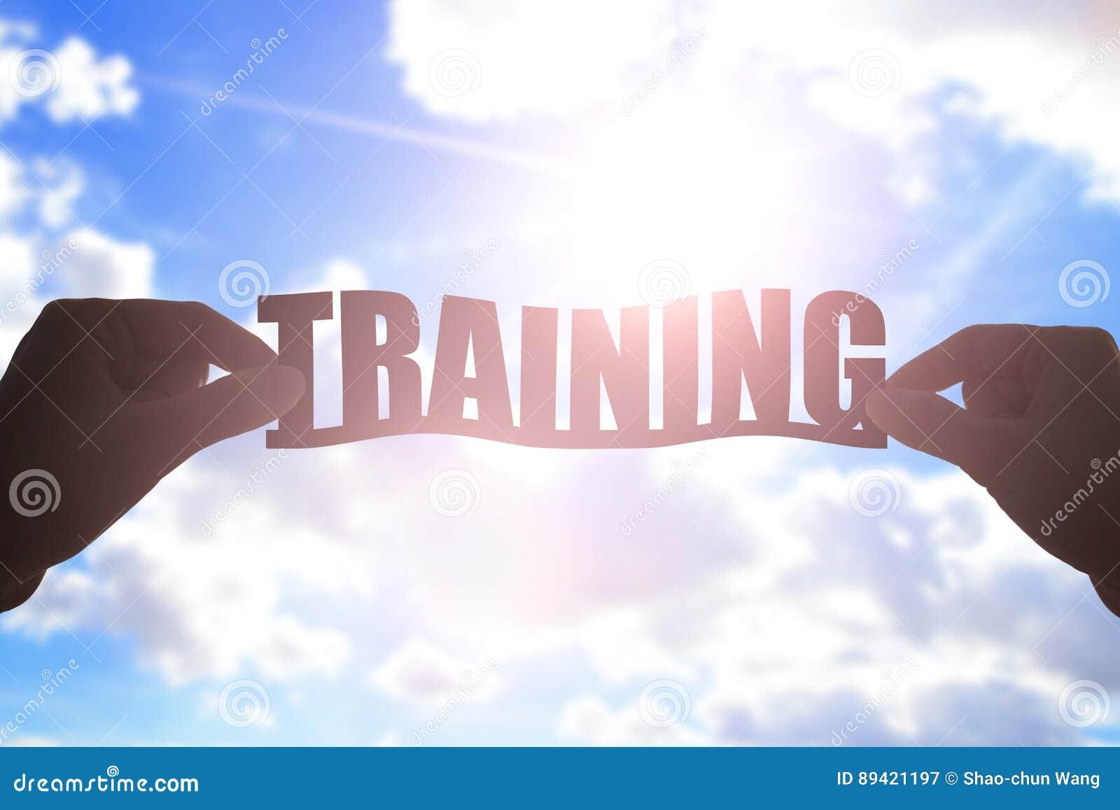 Palavra do treinamento da tomada da mão