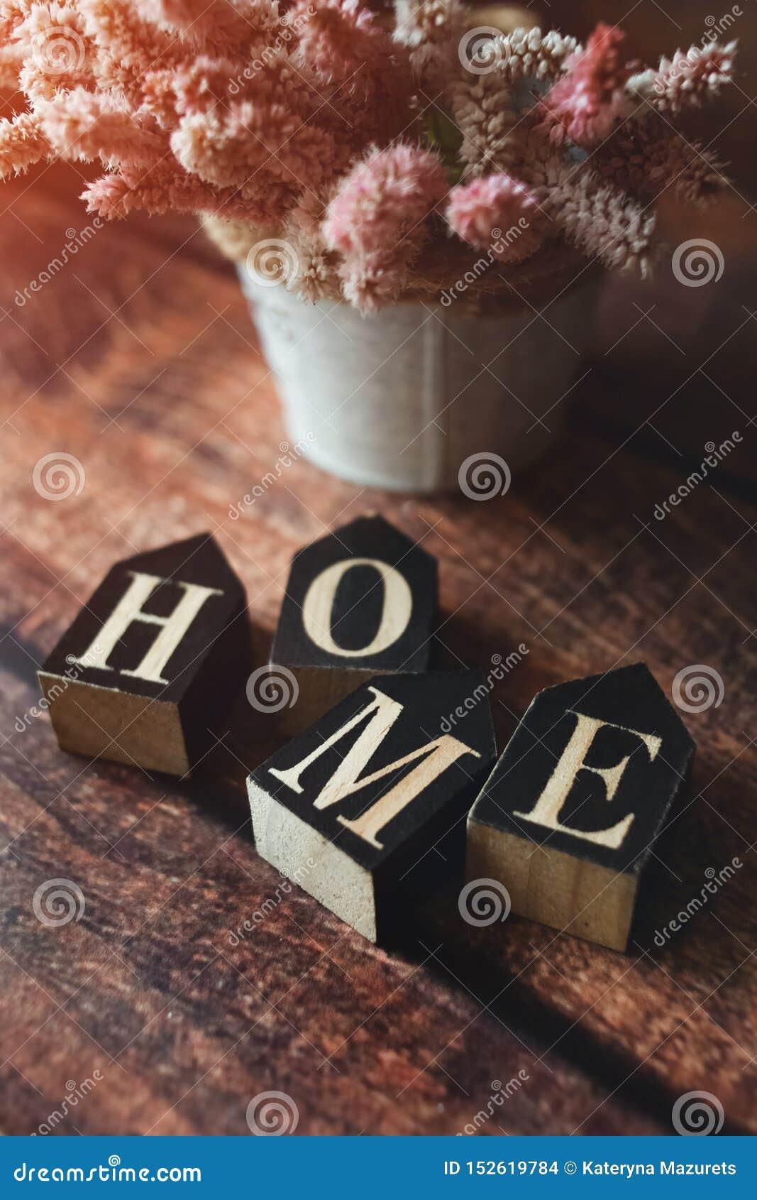 Palavra dos cubos em casa, fundo escuro, flores do verão, tonificadas