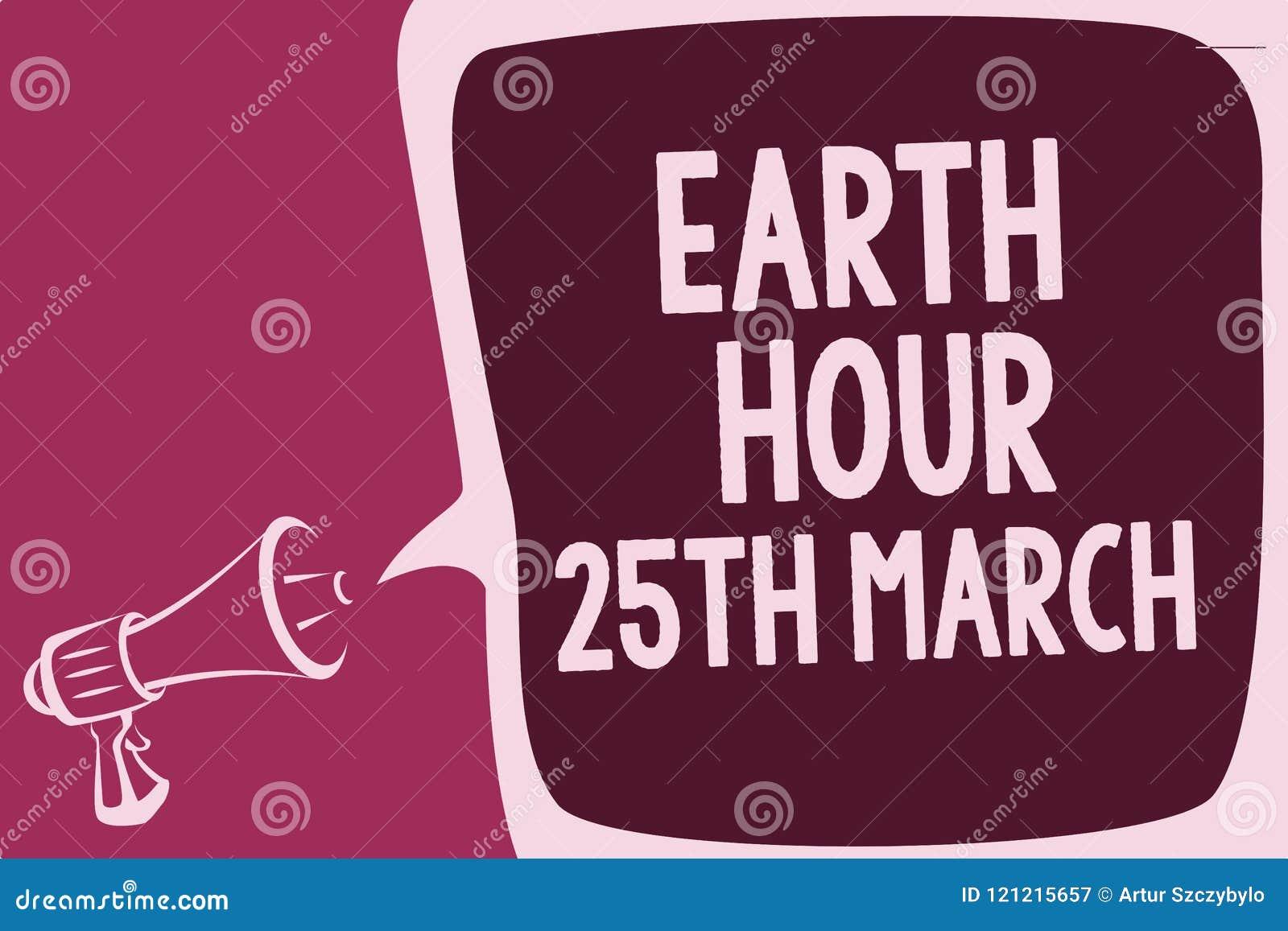 Palavra escrita texto terra hora o 25 de março O conceito do negócio para o compromisso do símbolo ao planeta organizou o fundo m