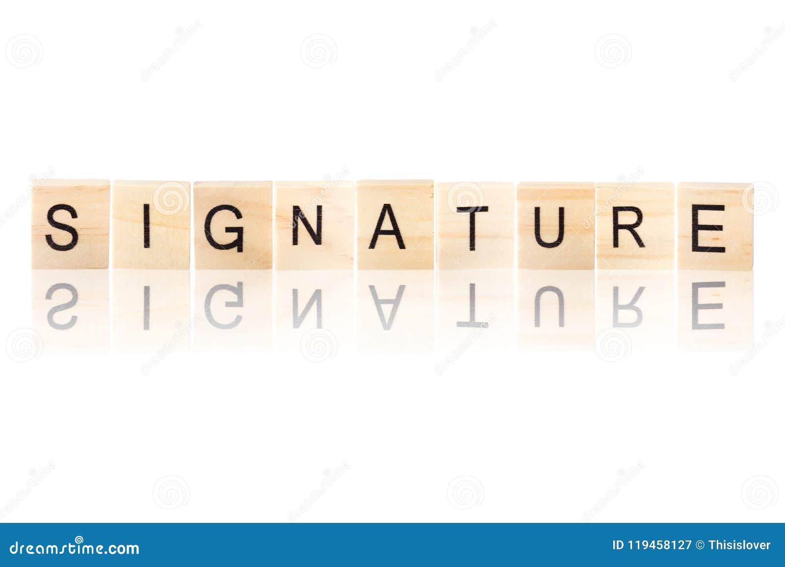 Palavra preta da assinatura
