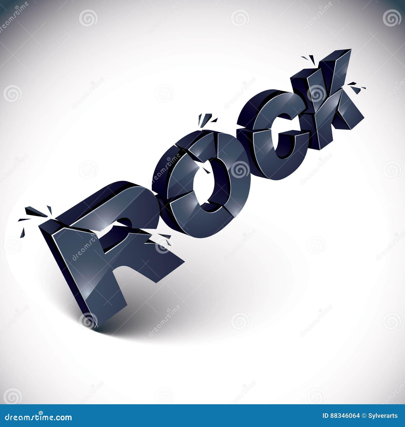 Palavra preta quebrada dimensional da rocha do vetor, música contemporânea