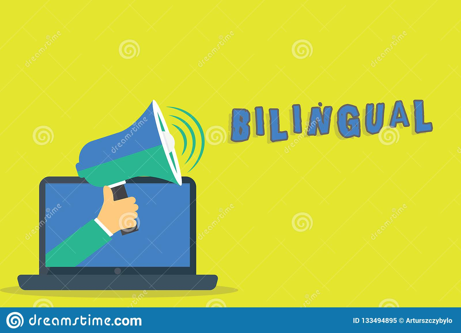 Palavra que escreve o bilíngue do texto Conceito do negócio para falar duas línguas fluentemente ou mais trabalho como a análise
