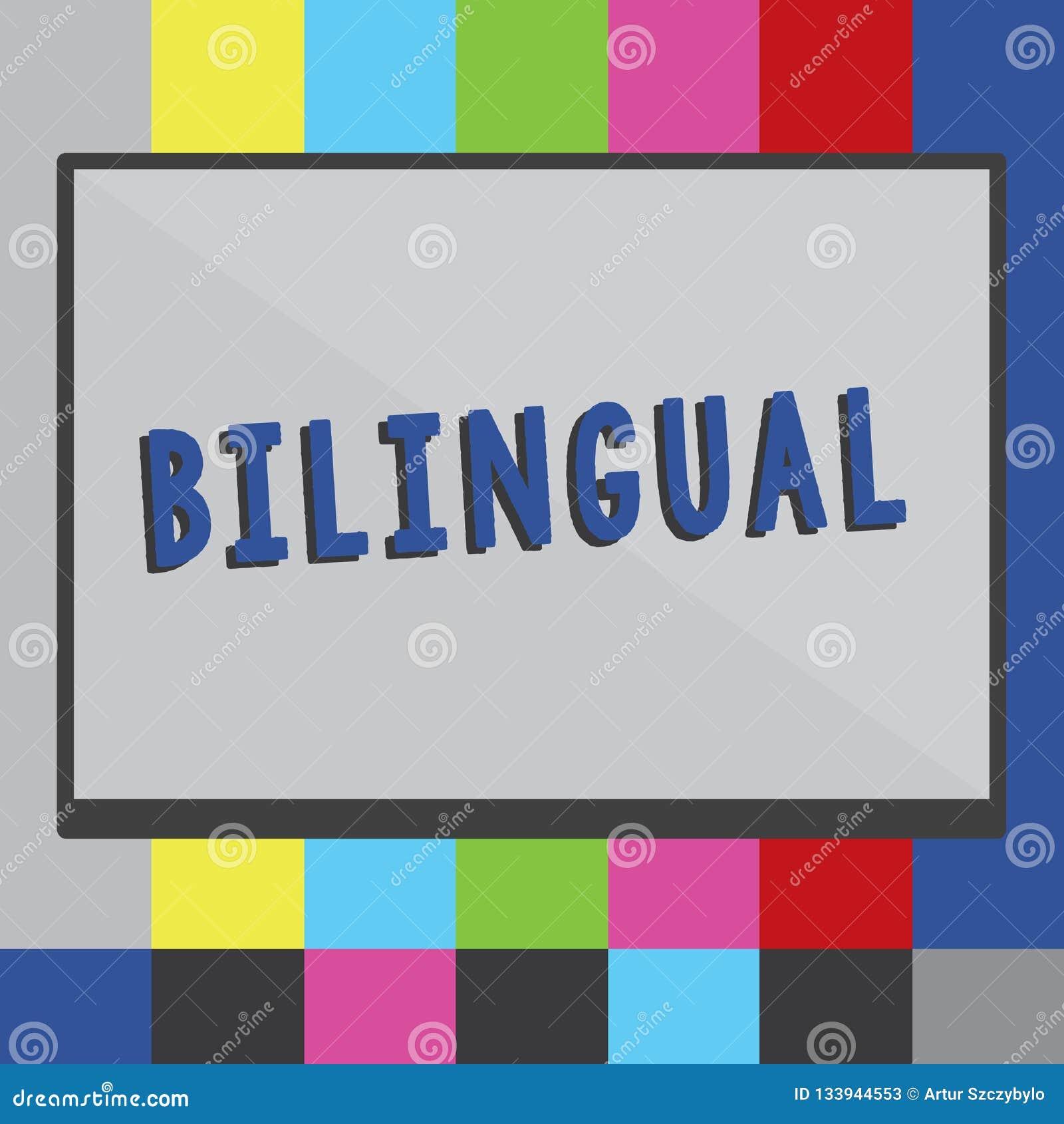 Palavra que escreve o bilíngue do texto O conceito do negócio para falar duas línguas fluentemente ou trabalha mais como o tradut