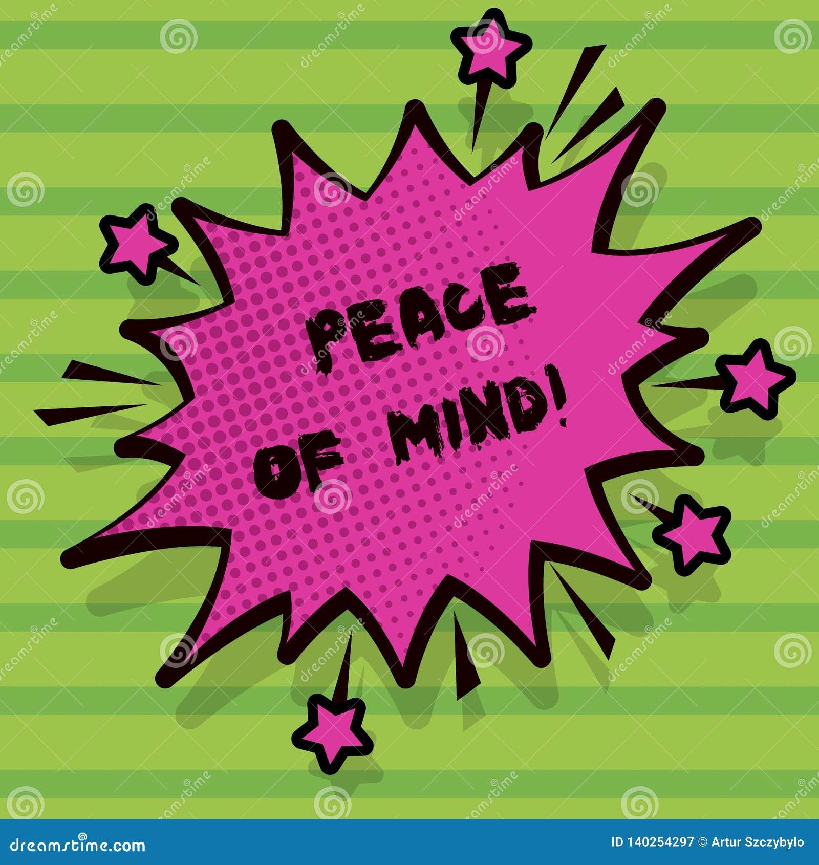 Palavra que escreve a paz de espírito do texto Conceito do negócio para a estar feliz calmo com coisas que você fez e realiza