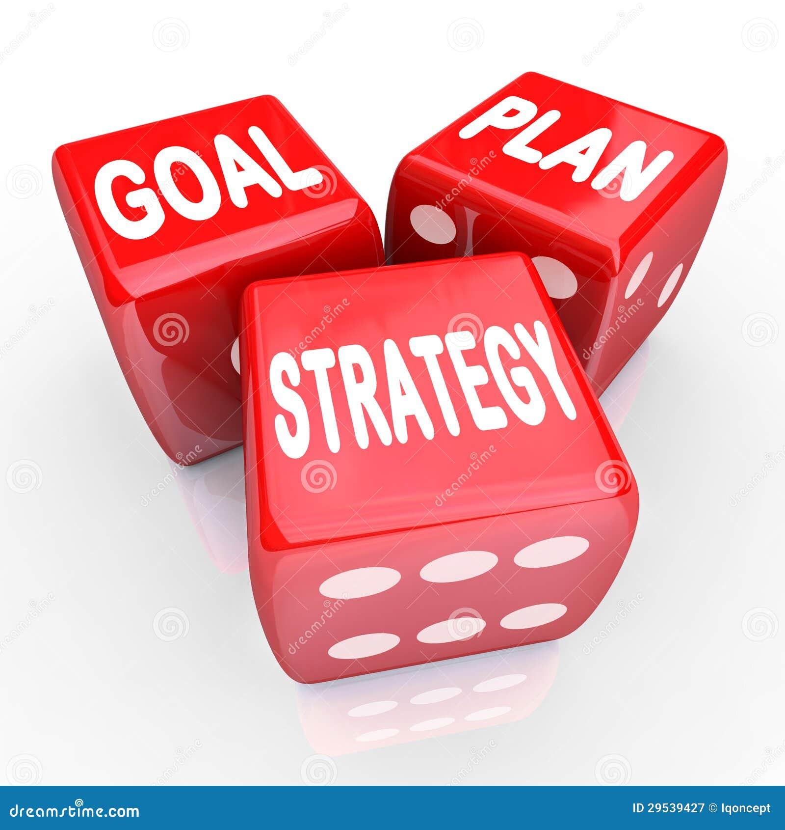 Palavras da estratégia do objetivo do plano em três dados vermelhos