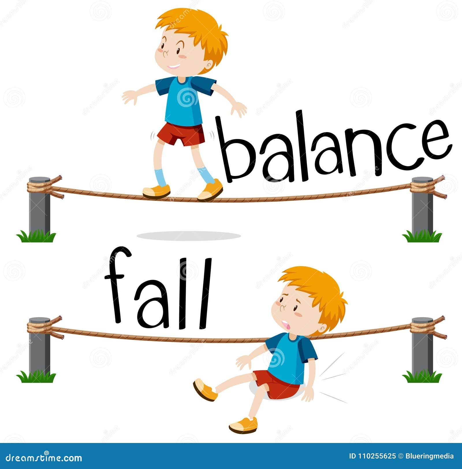 Palavras opostas para o equilíbrio e a queda