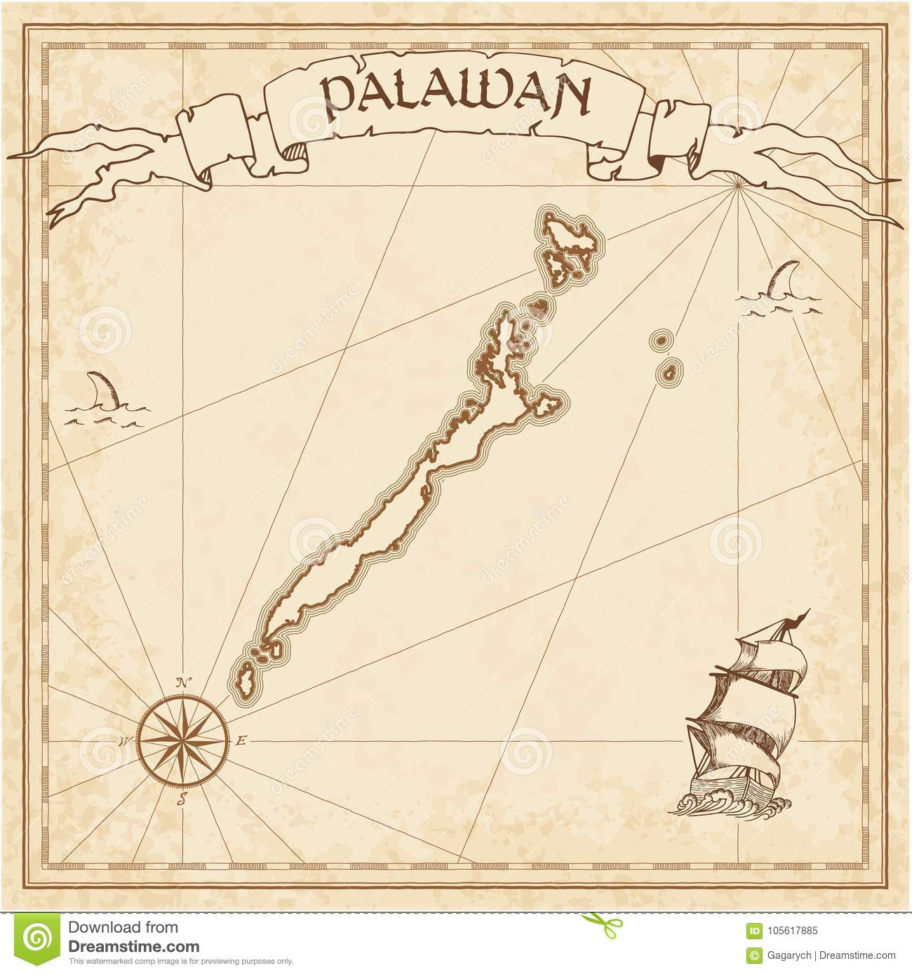 Palawan Old Treasure Map Illustration 105617885 Megapixl