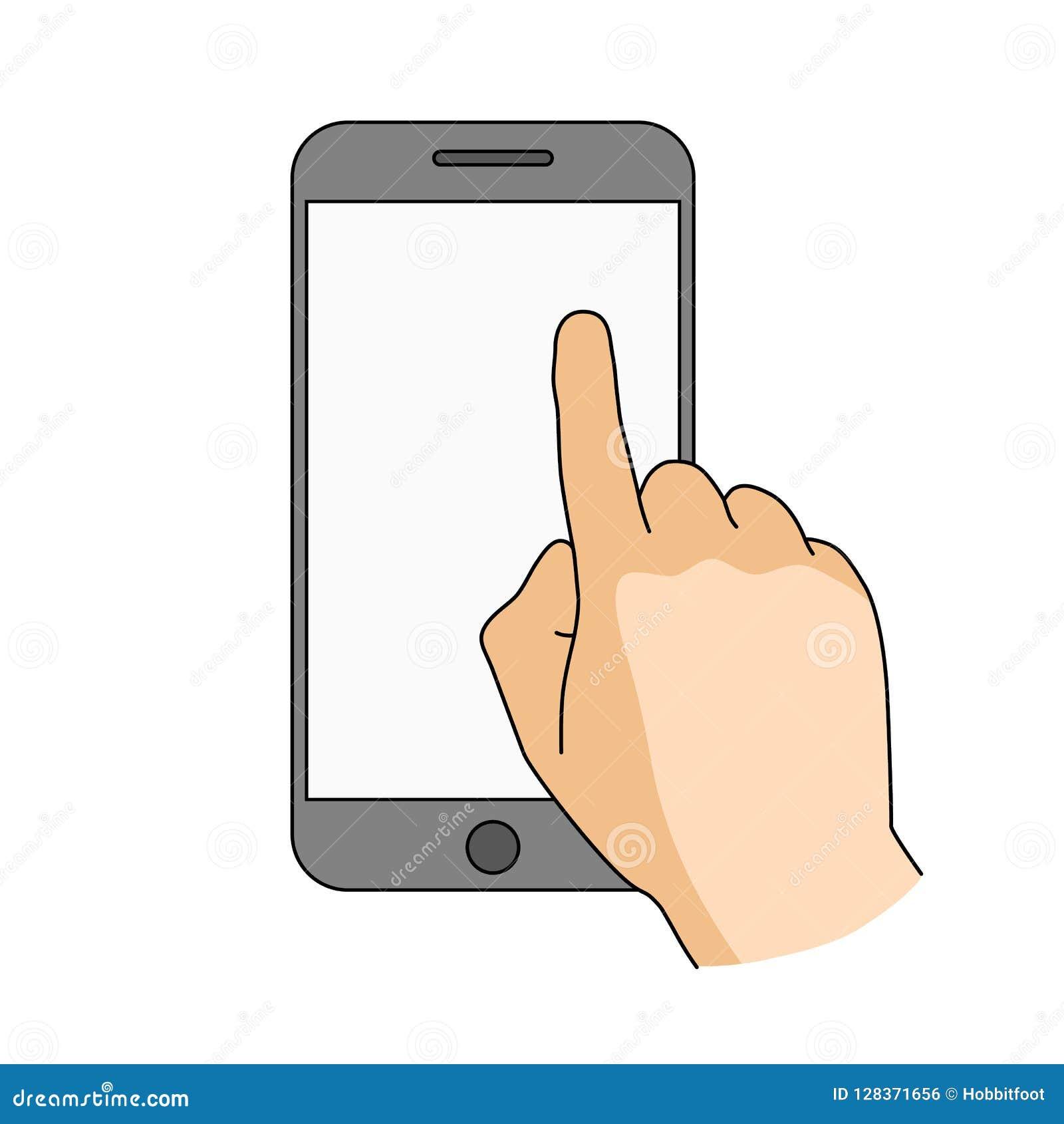 Palcowego dotyka smartphone pusty ekran Nowożytny pojęcie dla sieć sztandarów, strony internetowe, infographics Mobilny app mocku