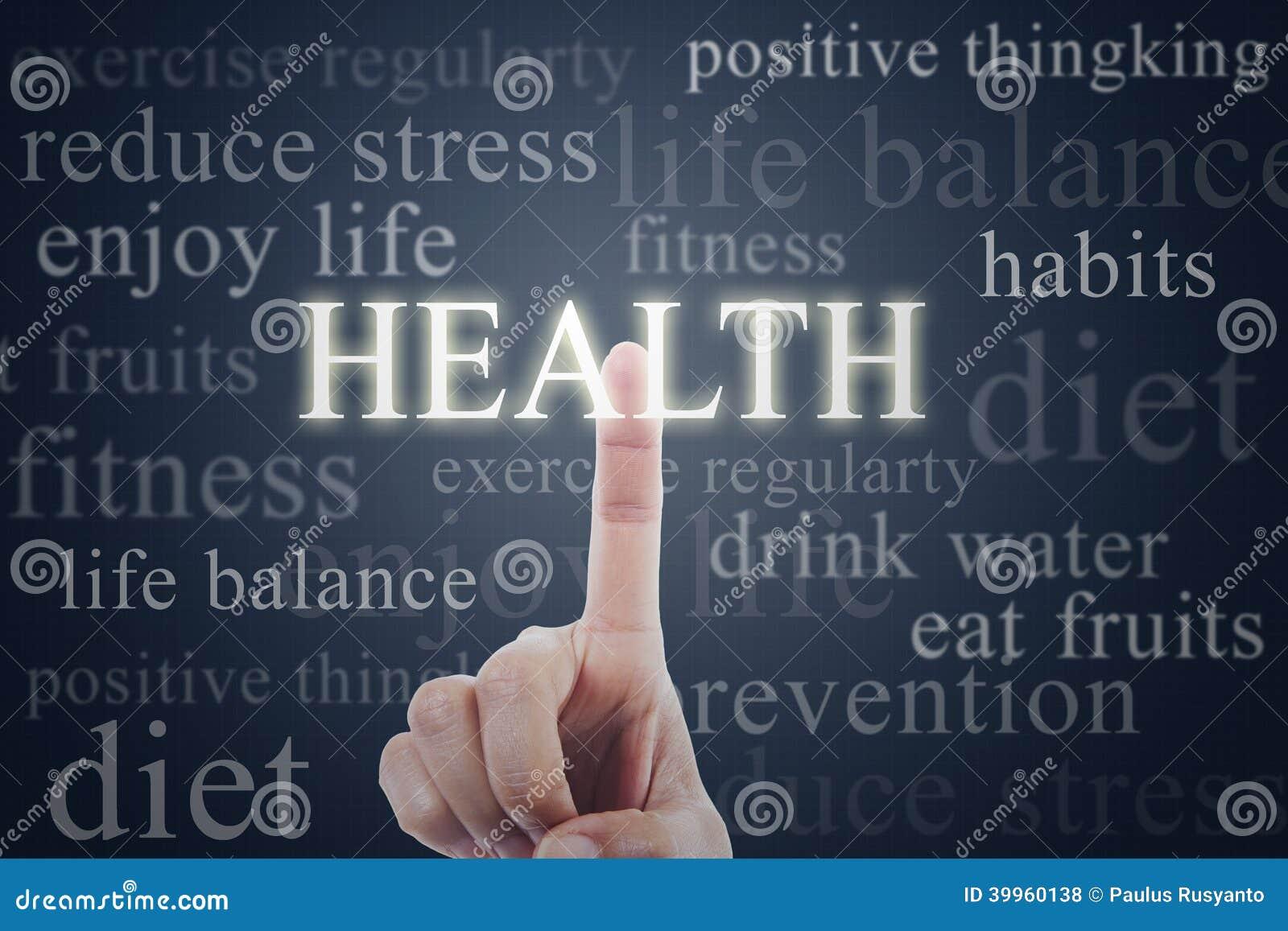 Palcowy naciskowy zdrowia słowo