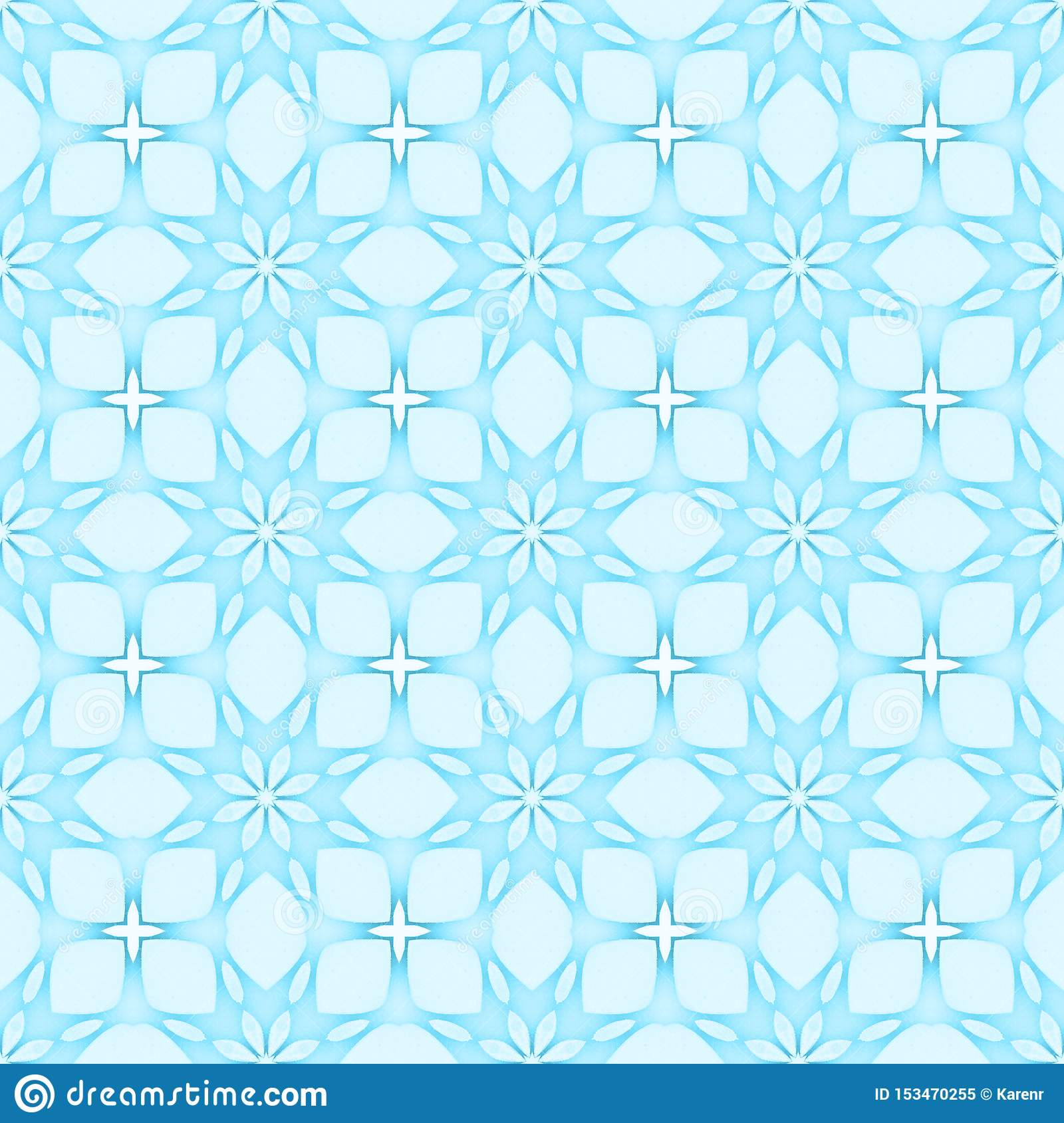 Pale blue flower mosaic detailed seamless textured pattern background