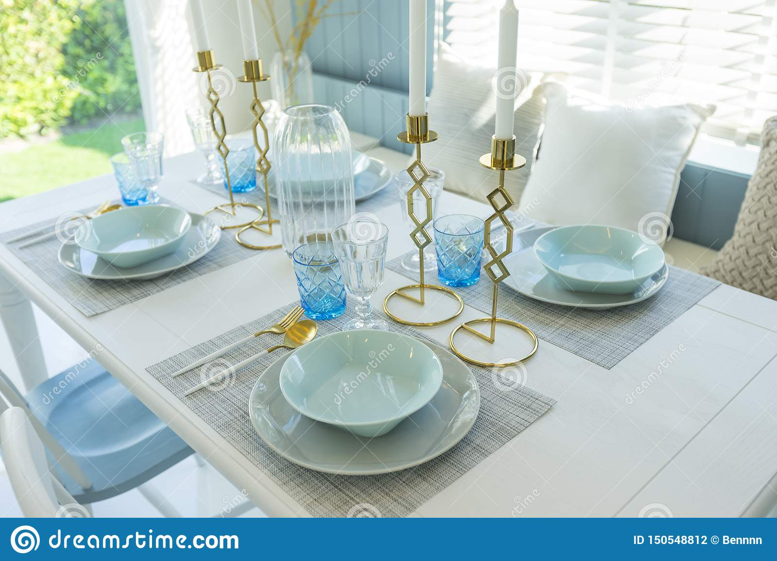 Miraculous Pale Blue Plate Setting On Table With Gold Candle Holder In Download Free Architecture Designs Scobabritishbridgeorg