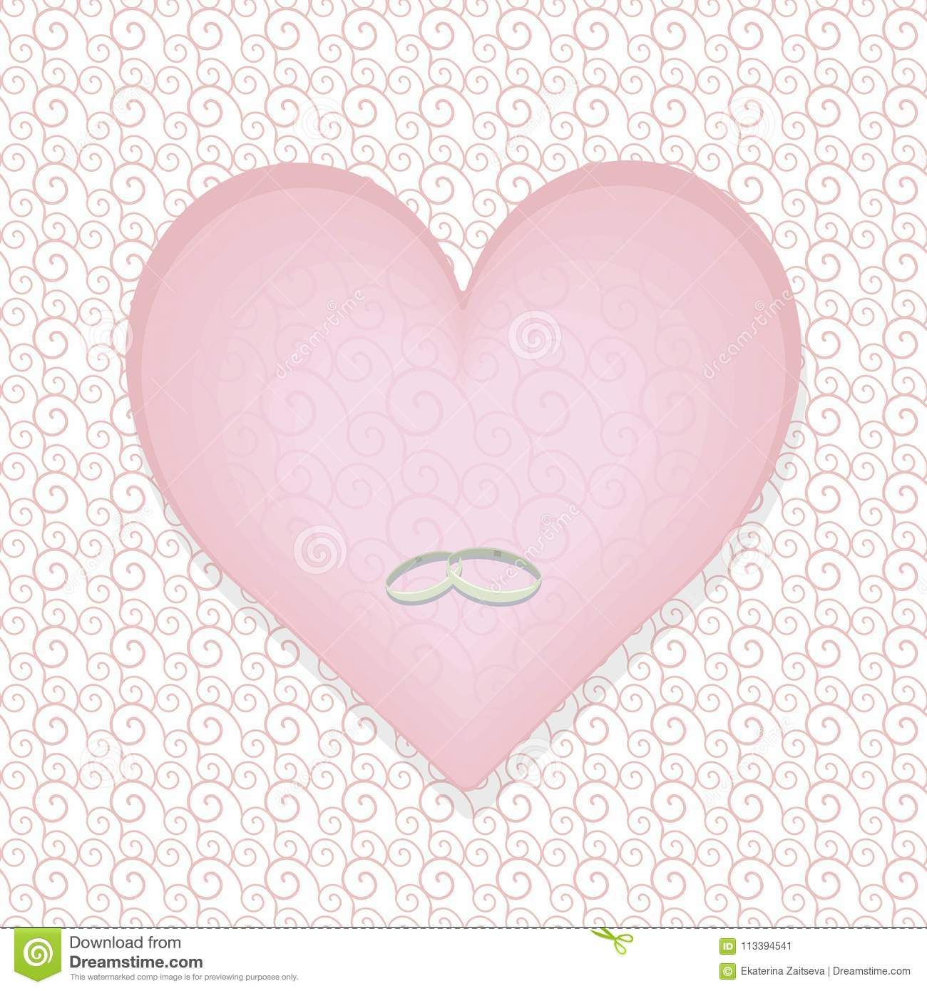 Pale Pastel Pink Heart With A Pattern With Silver Thin Wedding Rings ...
